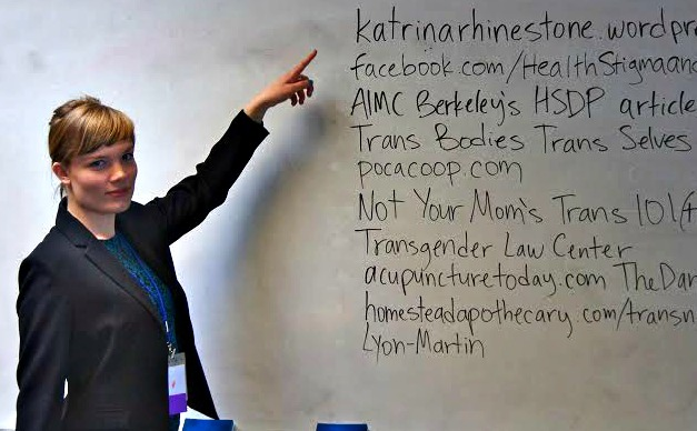 Katrina Hanson LAc teaching a gender 101 training for healthcare practitioners and acupuncturists