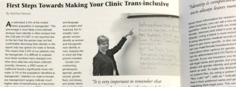 """First Steps Towards Making Your Clinic Trans-Inclusive"" by Katrina Hanson, published in CJOM"